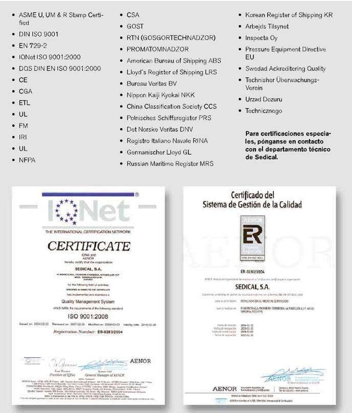 Certificaciones intercambiadores
